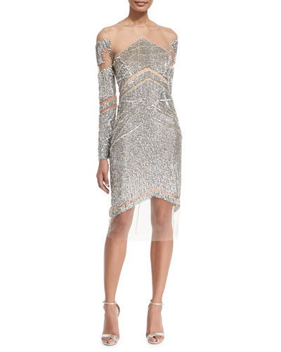 Crystal and Sequins Long-Sleeve Cocktail Dress, Silver