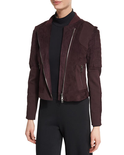 Shezi Perfect Suede Asymmetric-Zip Jacket