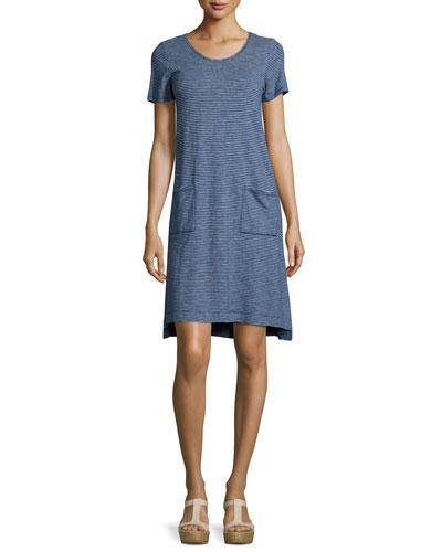 Short-Sleeve Skinny-Striped Shift Dress, Midnight