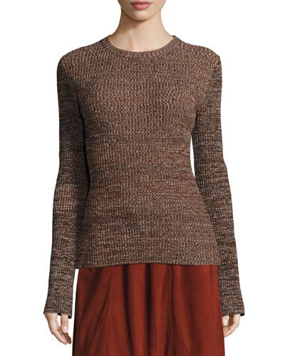 Otero Ribbed Crewneck Sweater, Red Rock Marl