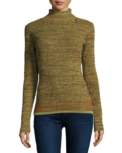 Piedras Ribbed Turtleneck Sweater, Moss Marl