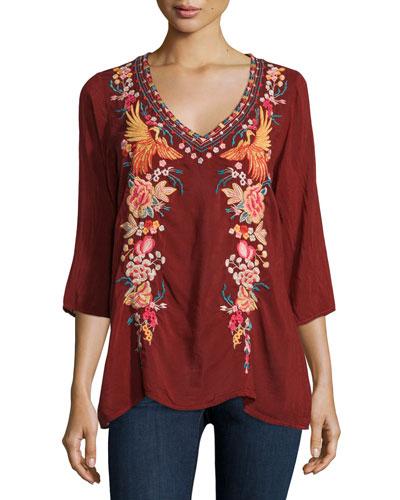 Faith 3/4-Sleeve Embroidered Blouse
