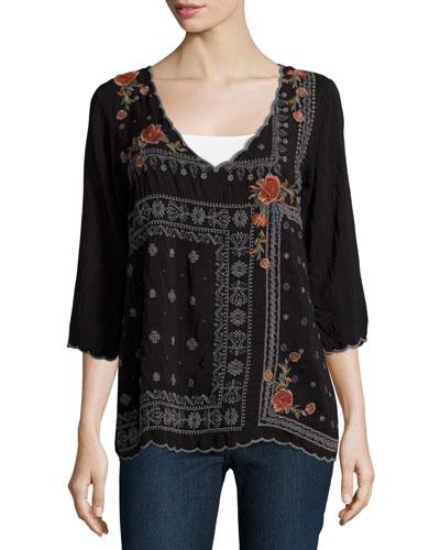 Bennett Embroidered 3/4-Sleeve Blouse, Black, Petite
