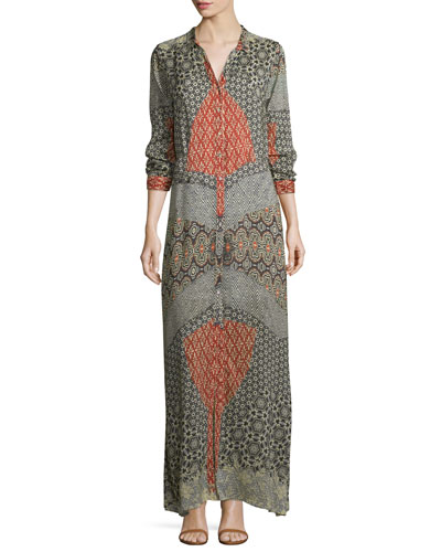 Wish Long-Sleeve Printed Maxi Dress, Multi, Petite