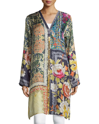 Shiro Printed Button-Front Silk Tunic, Multi, Plus Size