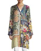 Shiro Printed Button-Front Silk Tunic, Multi