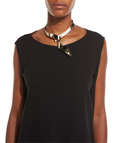 Golden Ribbon Collar Necklace