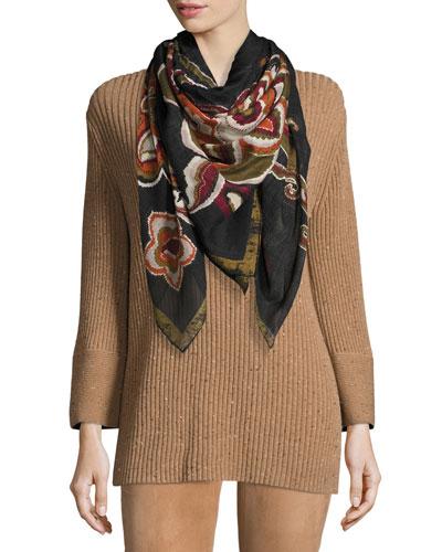Grand Paisley Wool-Blend Scarf, Cinder Multi