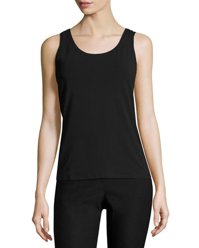 Perfect Jersey Scoop-Neck Tank, Black Onyx, Plus Size