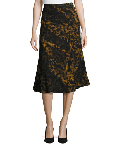 Johanna Leopard-Print A-line Skirt, Black Multi