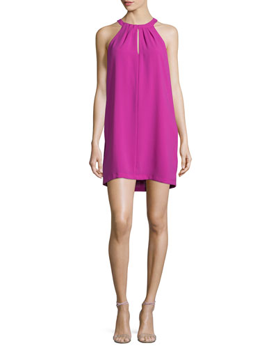 Tristyn Sleeveless Keyhole Dress, Magenta