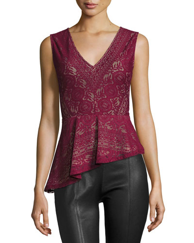 Avalon Lace Asymmetric-Peplum Top, Deep Cranberry