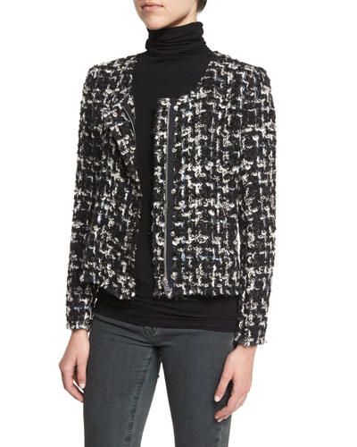 Nalokie Houndstooth Boucle Jacket, Black/White