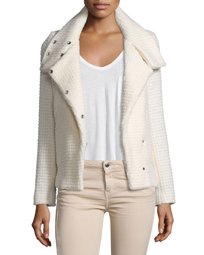 Sonay Snap-Front Boucle Jacket, Ecru
