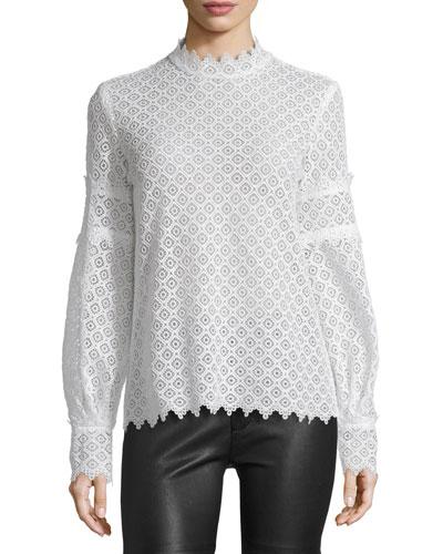 Amia Long-Sleeve Lace Top, Ecru