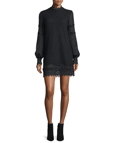 Kara Long-Sleeve Lace Mini Dress, Black