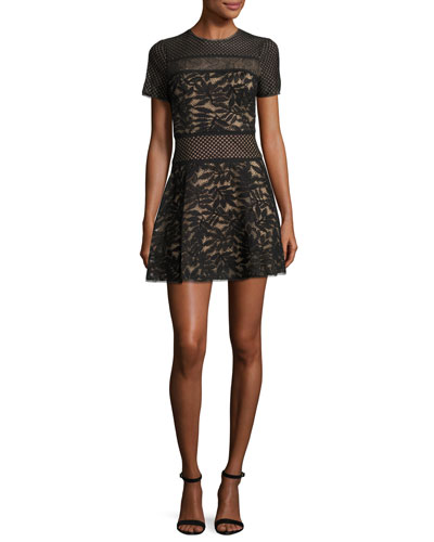 Eleanor Short-Sleeve A-Line Lace Combo Dress, Black