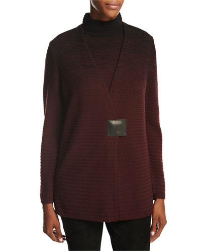 Relaxed V-Neck Ombre-Stitched Cardigan, Black Multi