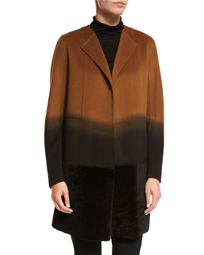 Hayes Collarless Ombre Coat w/ Fur Panel, Clove Multi