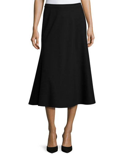 Tulip Knit Midi Skirt, Black