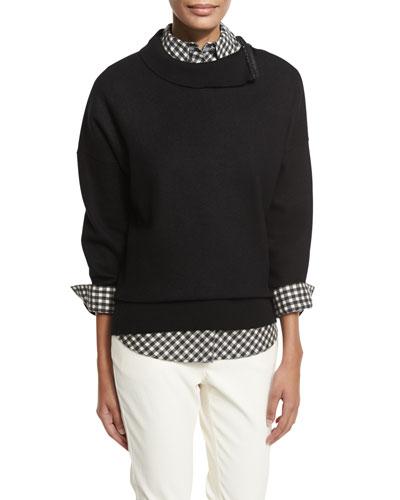 Funnel-Neck Sweatshirt w/ Zip & Ribbed Trim, Black