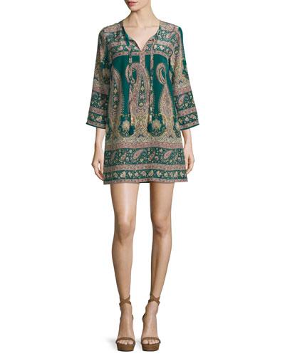Lohia Paisley Silk 3/4-Sleeve Shift Dress