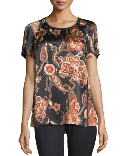Kate Paisley-Print Silk Blouse, Black Multi