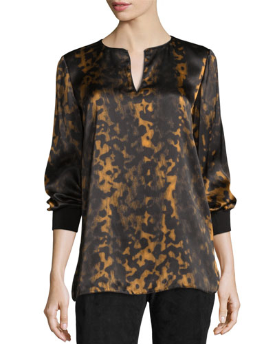 Kelsey Leopard-Print Split-Neck Blouse, Black/Multi