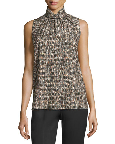 Mercy Sleeveless Printed Blouse, Black Multi