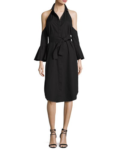 Show Me Cold-Shoulder Shirtdress, Black