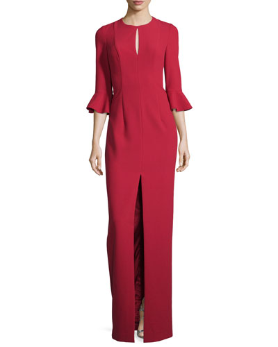 3/4-Sleeve Ponte Column Gown, Red