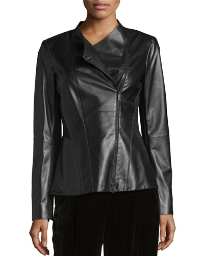 Austin Leather Moto Jacket, Black