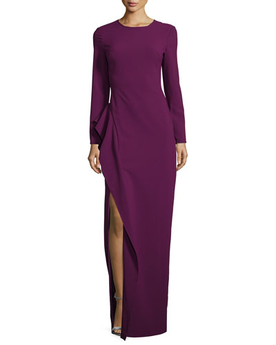 Long-Sleeve Draped Stretch Crepe Gown, Jezebel