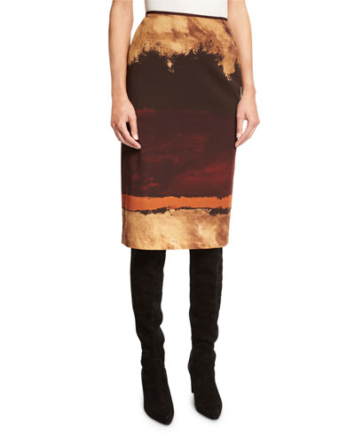 Graphic-Print Pencil Skirt, Cabernet Multi