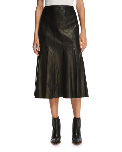 Aria Lamb Leather Godet Midi Skirt, Black