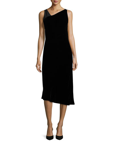 Lorde Sleeveless Chiffon-Combo Midi Dress, Black
