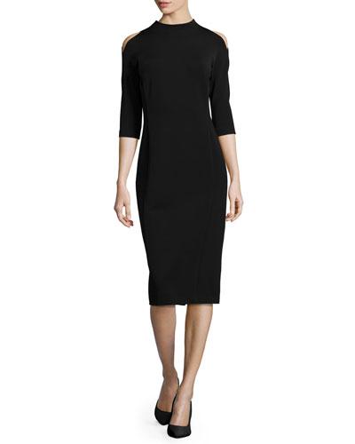 Mock-Neck Cold-Shoulder Sheath Dress, Black
