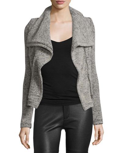 Bessie Melange Zip-Front Jacket, Beige