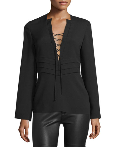 Luana Lace-Front Crepe Top, Black