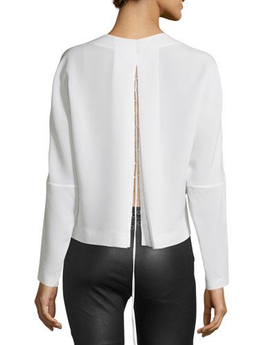 Soha Long-Sleeve Crepe Lace-Back Top, Ecru