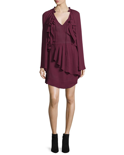 Salene Ruffle-Trim Mini Dress, Burgundy