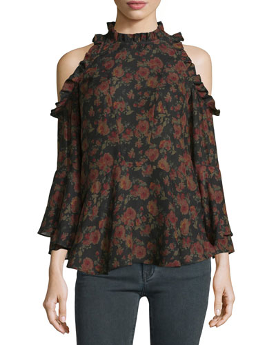 Eloane Floral Silk Cold-Shoulder Blouse, Black/Khaki