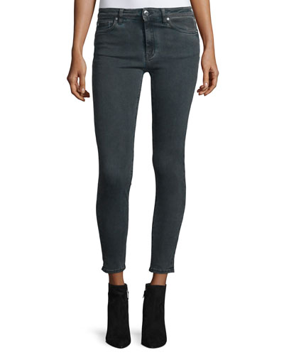 Elle Faded Stretch Ankle Jeans, Dark Gray