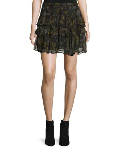Dicie Tiered Chiffon Camo Skirt, Black/Khaki