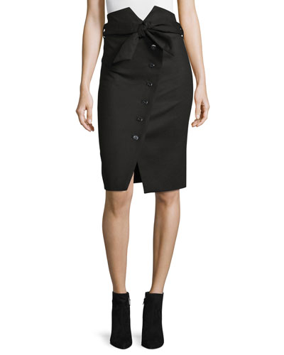 Maddy Asymmetric Button-Front Pencil Skirt, Black