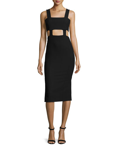 Celeste Cutout Midi Dress, Black