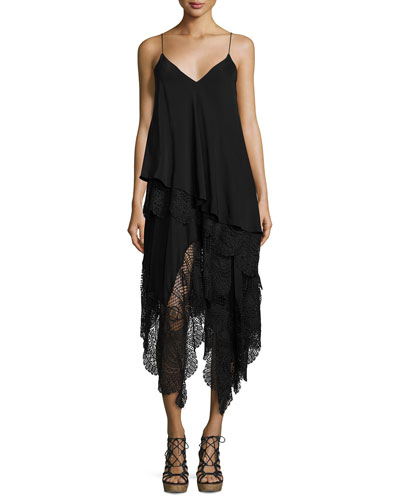 Willow Lace-Trim Slip Dress, Black