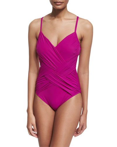 Lattice V-Neck One-Piece Swimsuit, Magenta