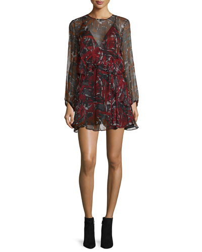 Ressey Printed Chiffon Mini Dress, Red