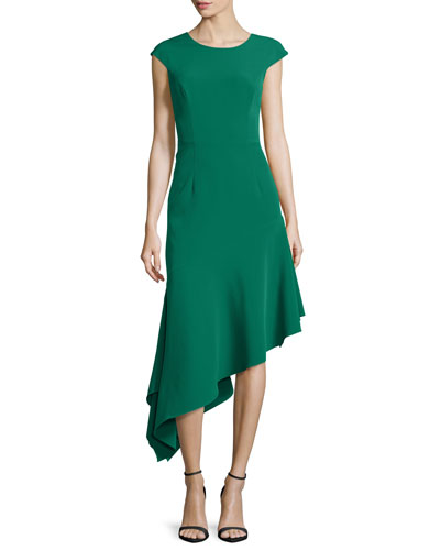 Cap-Sleeve Asymmetric Ponte Dress, Emerald